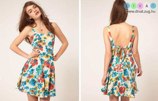 Nyári színes virágos ruha
