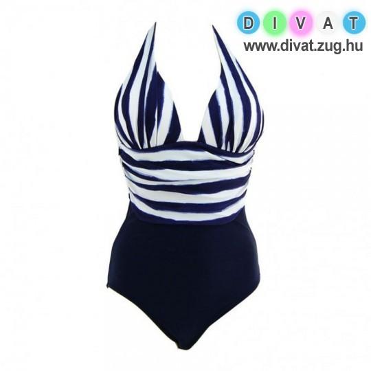 Kék-fehér csíkos egyberészes fürdőruha