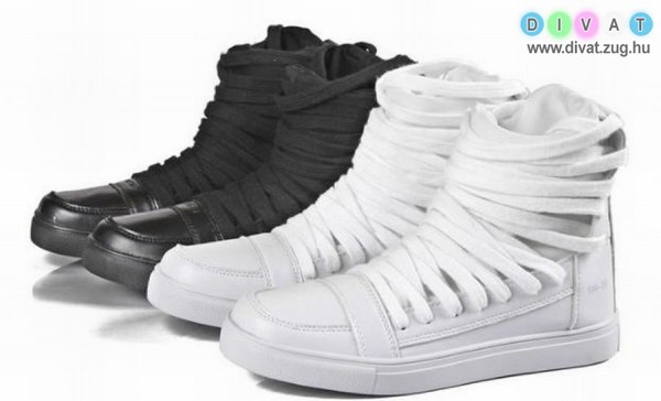 Magasszárú őszi, fekete és fehér férfi cipő