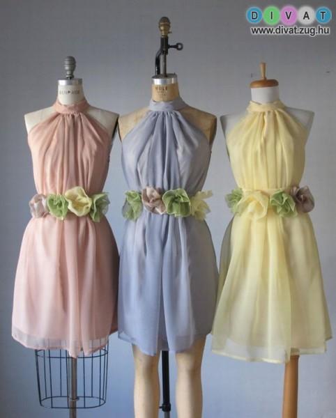 Pasztell színű alkalmi ruha