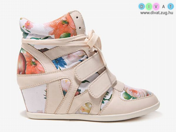 Virágmintás magastalpú sportcipő