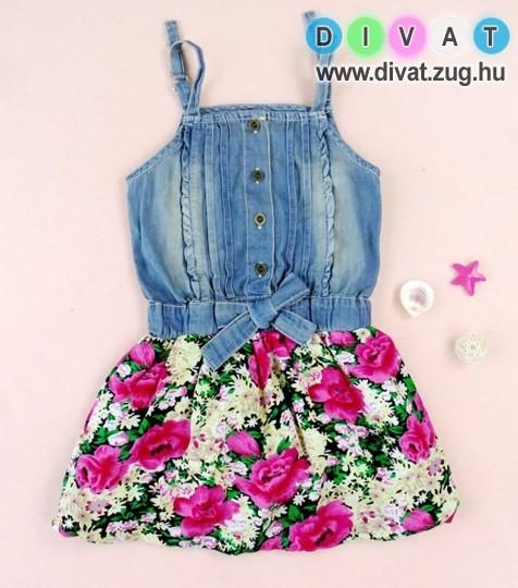 Virágos farmerkobinációs ruha