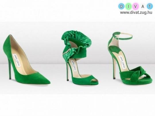 Zöld magassarkú cipők