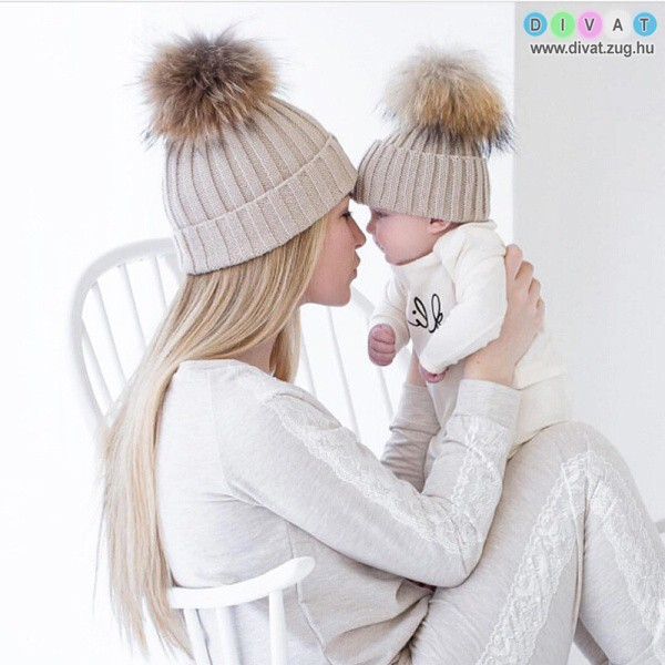 Anya-lánya/fia téli sapka