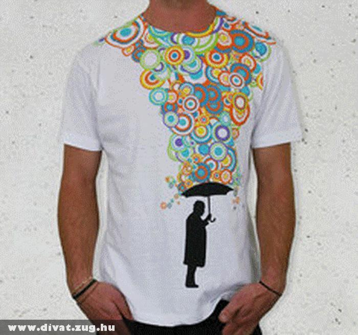 Fehér póló, színes mintákkal