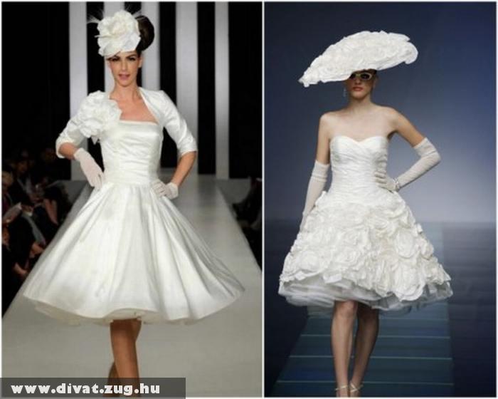 Rövid menyasszonyi ruha kalappal
