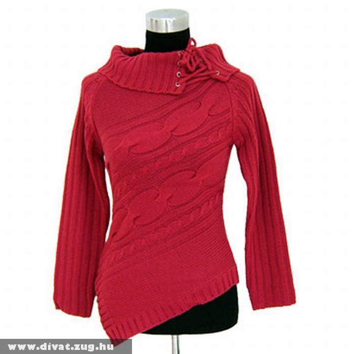 Piros nõi kötött pulcsi