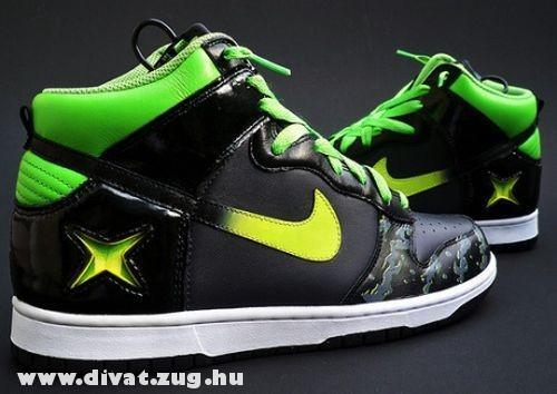 Fekete-zöld Nike cipõ