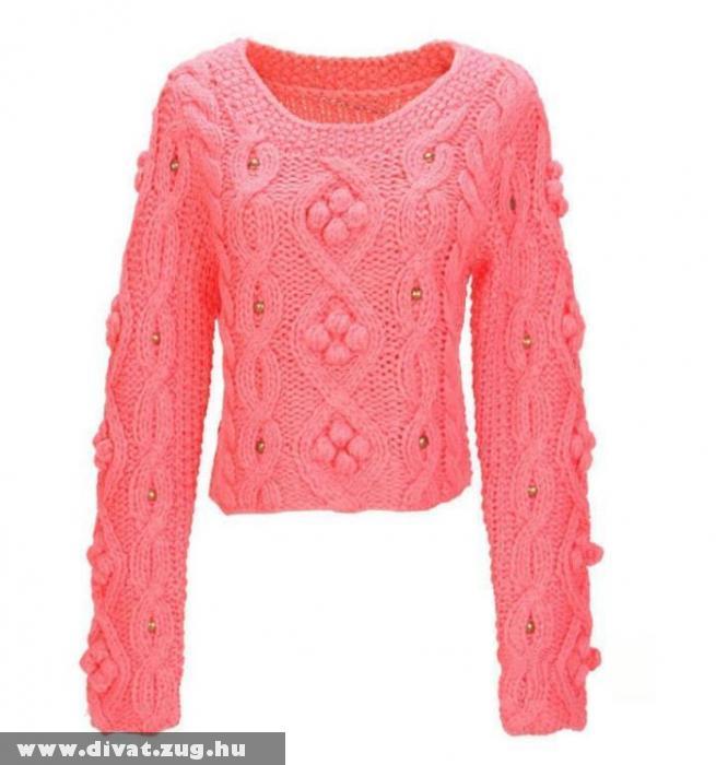 Rövidderekú kötött pulóver