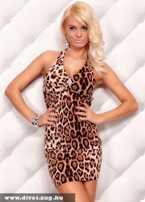 Redial leopárd mintás szexi ruha