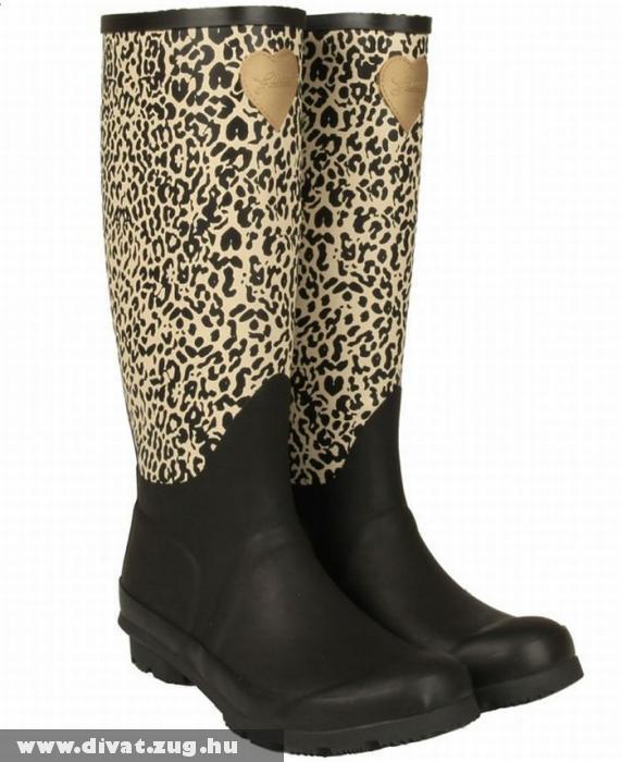 Fekete-leopárdmintás gumicsizma