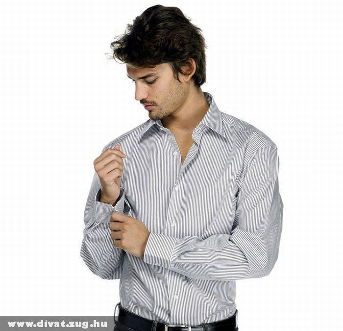 Calvin Klein - szürke csíkos fehér férfi ing